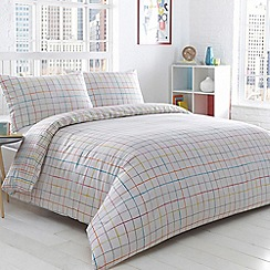 Home Collection Basics - White 'Clapton' checked bedding set