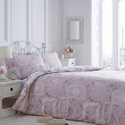 Home Collection Pink 39 Vintage Paris Labels 39 Bedding Set Debenhams