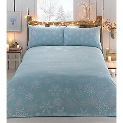 Home Collection - Aqua printed 'Snowflake' bedding set