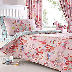 bluezoo - Kids' pink 'Castle and Unicorns' duvet cover and pillow case set