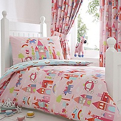 bluezoo - Kids' pink 'Castle And Unicorns' toddler duvet cover and pillow case set