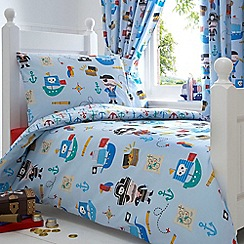 bluezoo - Kids' blue 'Pirates' toddler duvet cover and pillow case set