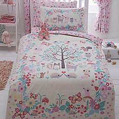 bluezoo - Kids' ivory 'Little Owl And Friends' duvet cover and pillow case set