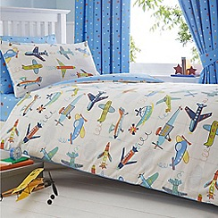 bluezoo - Kids' blue 'Aeroplanes' duvet cover and pillow case set