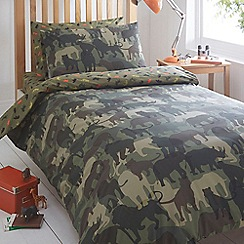 bluezoo - Kids' green 'Animal Safari' duvet cover and pillow case set