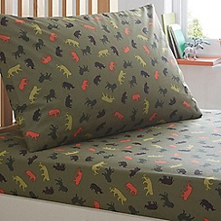 bluezoo - Boy's green animal safari sheets set