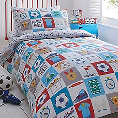 bluezoo - Kids' white 'Football' duvet cover and pillow case set