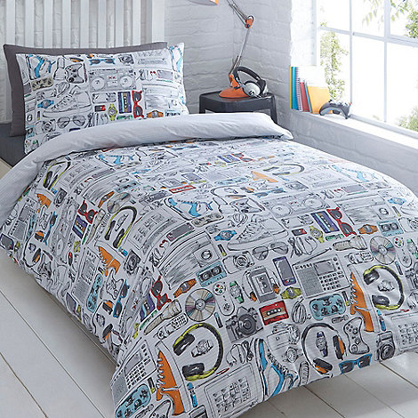 Bluezoo Kids White Gadget Duvet Cover And Pillow Case