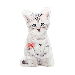 Star by Julien MacDonald - Designer grey crown beaded cat cushion
