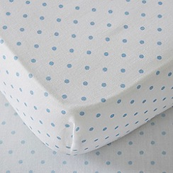 bluezoo - Light blue spotted print cot bed fitted sheet