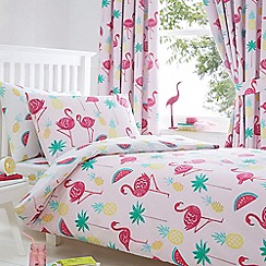 bluezoo - Kids' white 'Flamingos' duvet cover and pillow case set