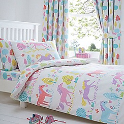 bluezoo - Kids' white 'Prancing Ponies' duvet cover and pillow case set