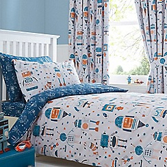 bluezoo - Kids' blue and white 'Robots' duvet cover and pillow case set