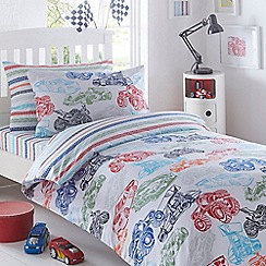 bluezoo - Kids' white 'Race Cars' duvet cover and pillow case set