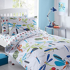 bluezoo - Kids' white 'Bugs' duvet cover and pillow case set