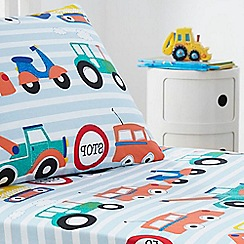 bluezoo - Kids' white 'Transport' fitted sheet and pillow case set
