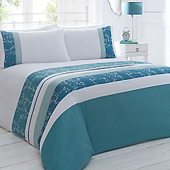 Home Collection - White and turquoise 'Colette' bedding set