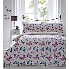 Home Collection - Multi-coloured printed 'Butterfly' bedding set