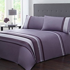 Home Collection - Purple striped 'Ashwin' duvet cover and pillow case