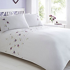 Home Collection - White floral embroidered bedding set