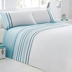 Home Collection - White striped cotton blend bedding set