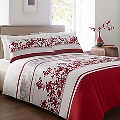 Home Collection - Red floral print cotton blend bedding set