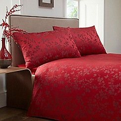 Home Collection - Red jacquard 'Blossom' bedding set