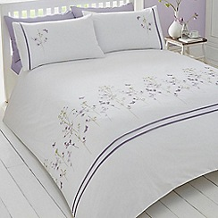 Home Collection - Off white and lilac lily embroidered bedding set