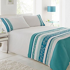 Home Collection - Turquoise floral striped print bedding set