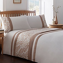 Home Collection - White and brown leaf print bedding set