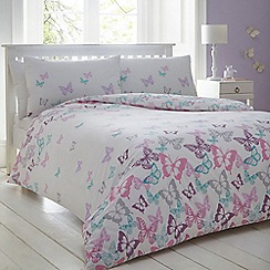 Home Collection - Pink and white butterfly print bedding set