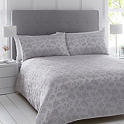 Home Collection - Silver floral embroidered bedding set
