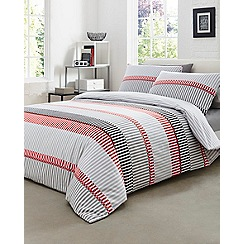 Home Collection - Red striped 'Dylan Geo' duvet cover and pillow case