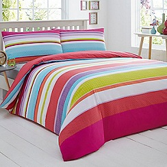 Home Collection - Multi-coloured striped 'Evie' duvet cover and pillow case