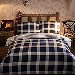 Home Collection - Blue 'Cameron' brushed cotton flannelette checked bedding