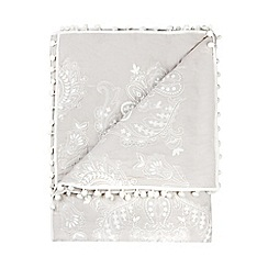 Home Collection - Pale grey embroidered throw