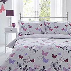 Home Collection - White butterfly print bedding set