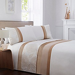 Home Collection - White block striped floral bedding set
