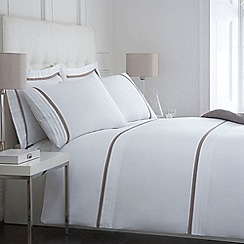 J by Jasper Conran - White and taupe 'Babbington' bed linen