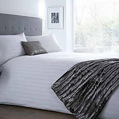 J by Jasper Conran - White 300 thread count sateen striped duvet cover