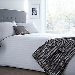 J by Jasper Conran - White 300 thread count sateen striped duvet cover and pillow case