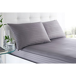 J by Jasper Conran - Grey 'Sateen Stripe' 220 thread count fitted sheet set