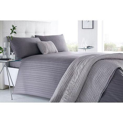 j by jasper conran grey 39 sateen stripe 39 220 thread count bedding set debenhams. Black Bedroom Furniture Sets. Home Design Ideas