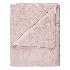 RJR.John Rocha - Light pink cotton floral print embroidered throw
