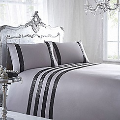 Star by Julien Macdonald - Designer grey striped bedding set