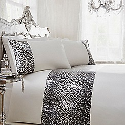 Star by Julien Macdonald - White leopard print block stripe bedding set