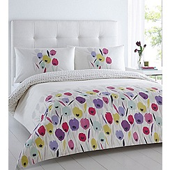 Betty Jackson.Black - Cream floral printed 'Tulips' bedding set