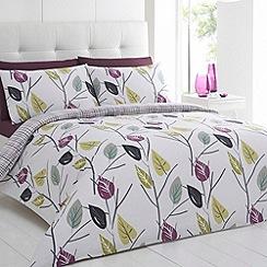 Betty Jackson.Black - White printed 'Leaves' bedding set