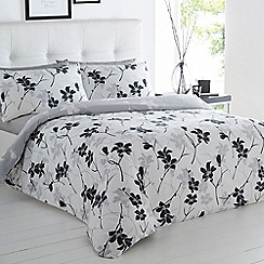Betty Jackson.Black - White floral print bedding set
