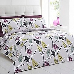 Betty Jackson.Black - Multi-coloured leaf print bedding set
